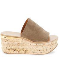Chloé Women's Camille Suede Platform Slides - Dark Greige - Size 37 (7) Sandals - Natural