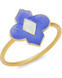 Legend Amrapali Holi 18k Yellow Gold & Enamel Ring - Multicolour