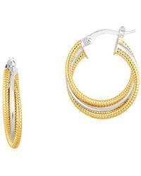 Saks Fifth Avenue - Two-tone 14k Gold Triple Twist Hoop Earrings - Lyst