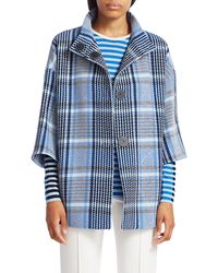 Akris Punto Eggshape Plaid Tweed Coat - Blue