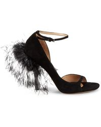 Valentino Garavani Women's Suede & Ostrich Feather D'orsay Peep-toe Pumps - Nero - Size 38 (8) - Black