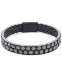 Tateossian Leather Wristband Bracelet - Black
