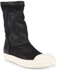 Rick Owens - Shearling-lined Leather Mid-calf Boots - Lyst
