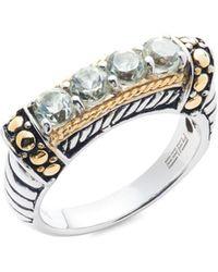 Effy Women's Sterling Silver, 18k Yellow Gold & Green Amethyst Ring - Size 7