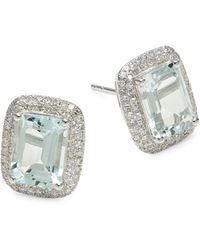 Effy 14k White Gold, Aquamarine & Diamond Stud Earrings - Multicolour