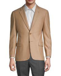Armani Men's Standard-fit Wool-blend Blazer - Tan - Size 52 (42) R - Brown