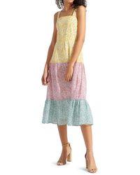 Sam Edelman Women's Printed Colorblock Midi Dress - Pastel Multi - Size 8 - Multicolor