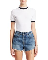 T By Alexander Wang Striped Rib-knit Trim Top - White