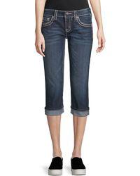 Miss Me Thick Stitched Capri Jeans - Blue