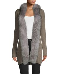 Sofia Cashmere Fox Fur-trim Open Front Cashmere Cardigan Jumper - Grey