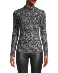Saks Fifth Avenue Women's Printed Mockneck Top - Grey Leopard - Size S