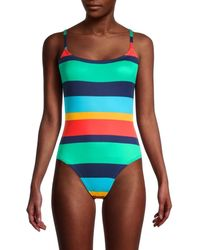 Sperry Top-Sider Women's Striped One-piece Swimsuit - Size S - Green