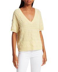 Joie Anoushka Short-sleeve Lace Eyelet Merino Wool Sweater - Yellow