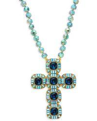 Heidi Daus Women's Goldtone & Crystal Cross Necklace - Multicolour