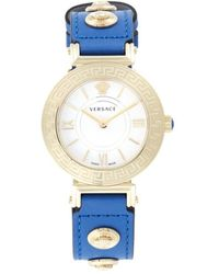 Versace Women's Goldtone Stainless Steel & Leather Strap Watch - Blue