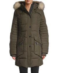 Pajar Women's Maquinna Fox Fur-trim & Duck Down Jacket - Military - Size Xs - Green