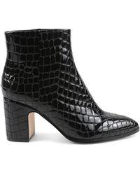 BCBGeneration Women's Stein Croc-embossed Booties - Black - Size 5
