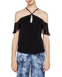 BCBGeneration - Knit Cold-shoulder Halter Top - Lyst