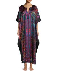 Josie Natori Printed Silk Caftan - Black
