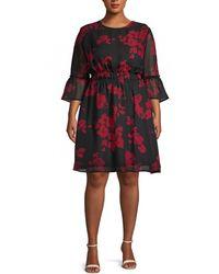 ABS By Allen Schwartz Plus Floral A-line Dress - Multicolor