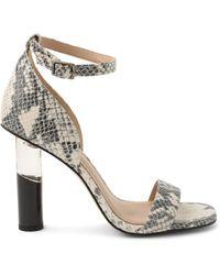 BCBGeneration Women's Lexana Snakeskin-print Leather Heeled Sandals - Ivory Snake Combo - Size 6.5 - Multicolour
