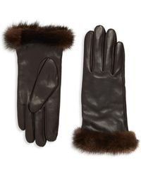 Saks Fifth Avenue Leather & Mink Fur Gloves - Brown