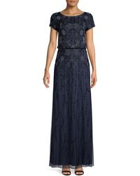 Adrianna Papell Embellished Beaded Gown - Blue
