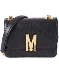 Moschino Women's Quilted Chain Leather Shoulder Bag - Black