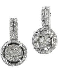 Effy - Diamond And 14k White Gold Drop Earrings, 0.54 Tcw - Lyst