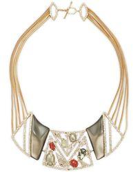 Alexis Bittar 10k Goldplated Pyrite, Quartz & Carnelian Bib Necklace - Multicolour