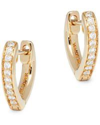 Nephora 14k Yellow Gold & Diamond Heart-shaped Huggie Earrings - Metallic