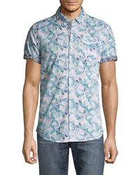 Report Collection Slim-fit Leaf-print Shirt - Blue
