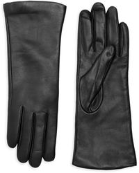 Saks Fifth Avenue Polished Leather Cashmere Lined Tech Gloves - Brown