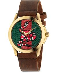 Gucci Le Marché Des Merveilles Snake Yellow Goldtone Pvd And Leather Strap Watch - Multicolor