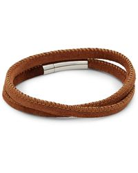 Tateossian Sterling Silver And Leather Wrap Bracelet - Brown
