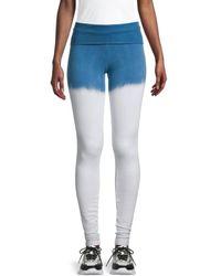 Hard Tail Women's Tie-dye Scrunchy-leg Leggings - Blue White - Size Xs
