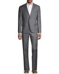 Tommy Hilfiger Men's Lowen Stretch-fit Plaid Wool-blend Suit - Grey Blue - Size 40 R