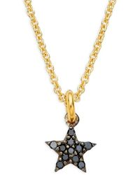 La Soula Women's Goldplated Sterling Silver, Black Rhodium-plated & Diamond Star Pendant Necklace - Multicolor