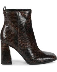 Circus by Sam Edelman Women's Pascha Snakeskin-embossed Heeled Booties - Coffee - Size 6.5 - Brown