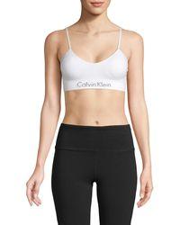 Calvin Klein Logo Stretch Bralette - White