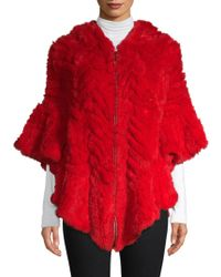 Belle Fare Herringbone Dyed Rex Rabbit Fur Poncho