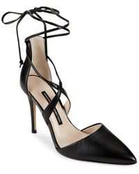 French Connection Elise Leather Court Shoes - Black