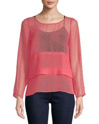 Plenty by Tracy Reese Pleated See-through Top - Blue