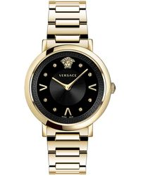 Versace Pop Chic Lady Two-tone Ip Gold Stainless Steel Analog Bracelet Strap Watch - Metallic
