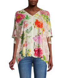Johnny Was Botanical-print Elbow-sleeve Top - Multicolour