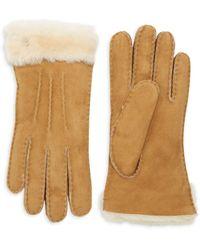UGG Shearling-cuff Sheepskin Gloves - Brown