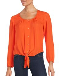 Chaus New York - Knotted Hem Long Sleeve Blouse - Lyst