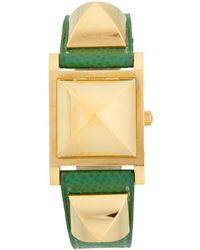 4b1d970c21b Hermès - Vintage Medor Leather-strap Watch - Lyst