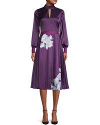 Ted Baker Animal-print Mockneck Midi Dress - Purple