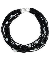 Arthur Marder Fine Jewelry Sterling Silver, 11mm X 8mm Baroque Freshwater Pearl & Black Spinel Necklace